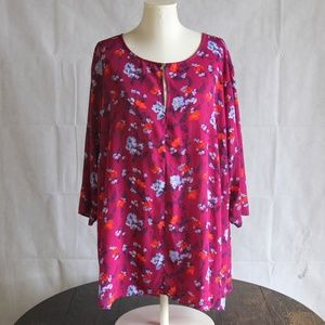 Ava & Viv 3X Pink Floral Top Ruched Sleeve Blouse